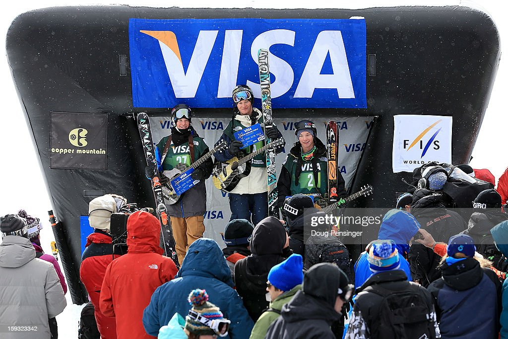 Aaron Blunk of the USA in second place, Mike Riddle of Canada in first place and David Wise of the USA in third place take the podium for the FIS Freestyle Ski Half Pipe World Cup at the US Grand Prix on January 11, 2013 in Copper Mountain, Colorado.