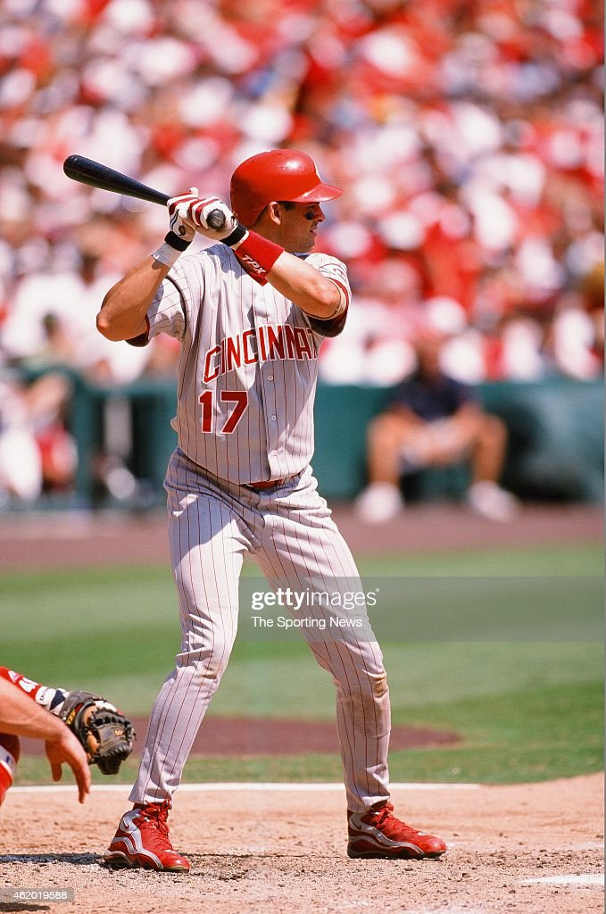<a gi-track='captionPersonalityLinkClicked' href=/galleries/search?phrase=Aaron+Boone&family=editorial&specificpeople=211224 ng-click='$event.stopPropagation()'>Aaron Boone</a> of the Cincinnati Reds bats during a game against the St Louis Cardinals on September 5, 1998.