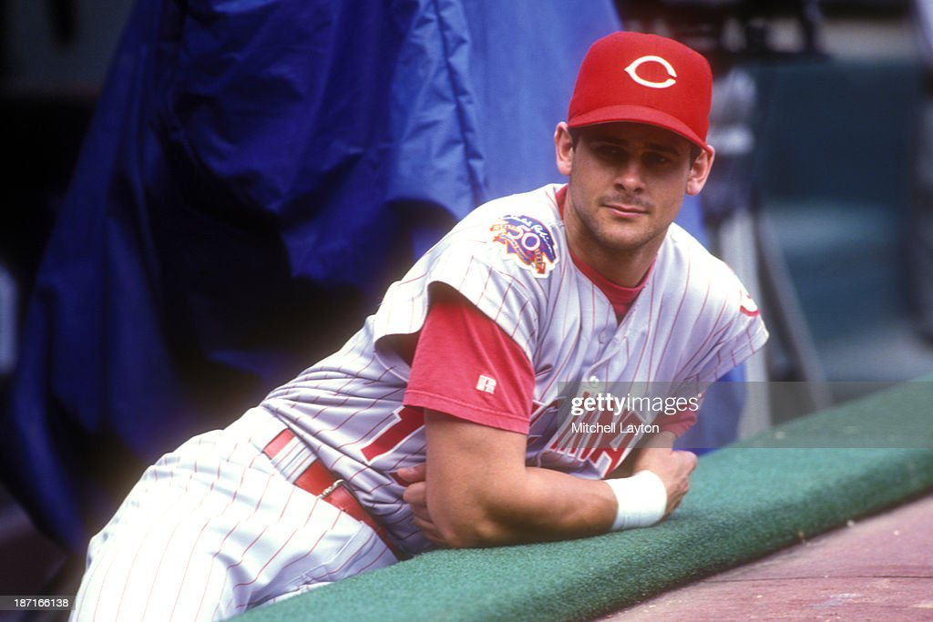 Aaron Boone #17 of the Cincinnati Reds looks on during a baseball game against the Philadelphia Phillies on September 12, 1997 at Veterans Stadium in Philadelphia, Pennsylvania. The Reds won 3-0.