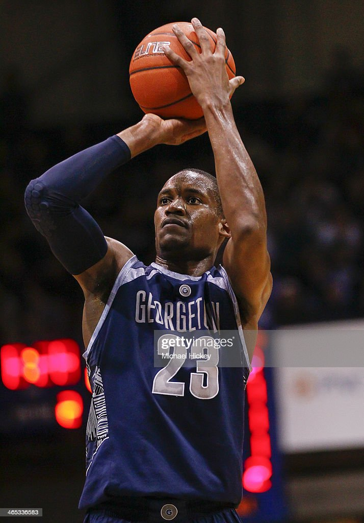 Aaron Bowen #23 of the Georgetown Hoyas shoots a free throw during the game against the Butler Bulldogs at Hinkle Fieldhouse on January 11, 2014 in Indianapolis, Indiana. Georgetown defeated Butler 70-67.