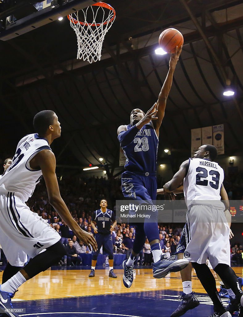 Aaron Bowen #23 of the Georgetown Hoyas shoots the ball against the Butler Bulldogs at Hinkle Fieldhouse on January 11, 2014 in Indianapolis, Indiana. Georgetown defeated Butler 70-67.