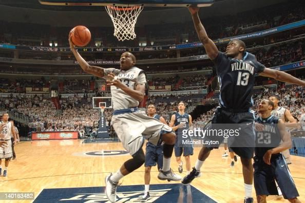 Aaron Bowen of the Georgetown Hoyas takes a shot during a college basketball game against the Villanova Wildcats on February 25 2012 at the Verizon...