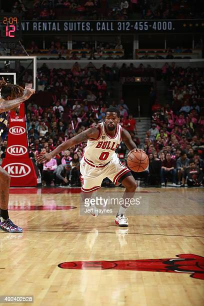Aaron Brooks of the Chicago Bulls brings the ball up court against the New Orleans Pelicans on October 12 2015 at the United Center in Chicago...