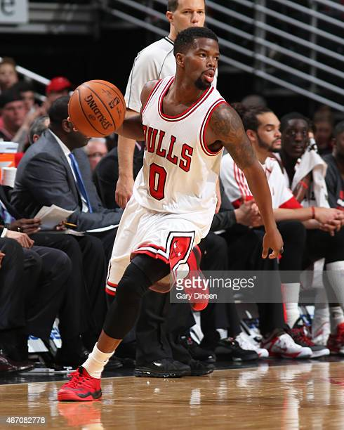 Aaron Brooks of the Chicago Bulls handles the ball against the Toronot Raptors on March 20 2015 at the United Center in Chicago Illinois NOTE TO USER...
