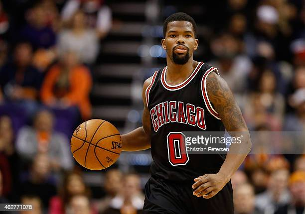 Aaron Brooks of the Chicago Bulls handles the ball during the NBA game against the Phoenix Suns at US Airways Center on January 30 2015 in Phoenix...