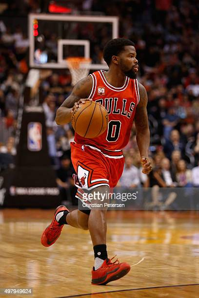 Aaron Brooks of the Chicago Bulls handles the ball during the NBA game against the Phoenix Suns at Talking Stick Resort Arena on November 18 2015 in...