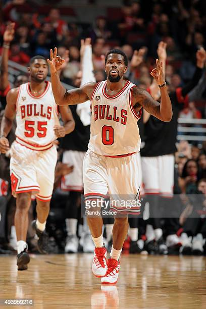 Aaron Brooks of the Chicago Bulls reacts to a play against the Indiana Pacers on October 20 2015 at the United Center in Chicago Illinois NOTE TO...