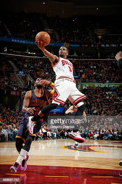 Aaron Brooks of the Chicago Bulls shoots the ball against the Cleveland Cavaliers on April 5 2015 at Quicken Loans Arena in Cleveland Ohio NOTE TO...