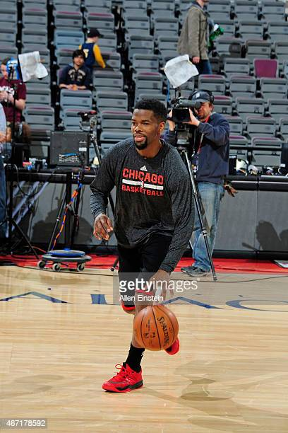 Aaron Brooks of the Chicago Bulls warms up before the game against the Detroit Pistons on March 21 2015 at The Palace of Auburn Hills in Auburn Hills...