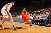 Aaron Brooks of the Houston Rockets in action against Danilo Gallinari of the New York Knicks on March 21 2010 at Madison Square Garden in New York...