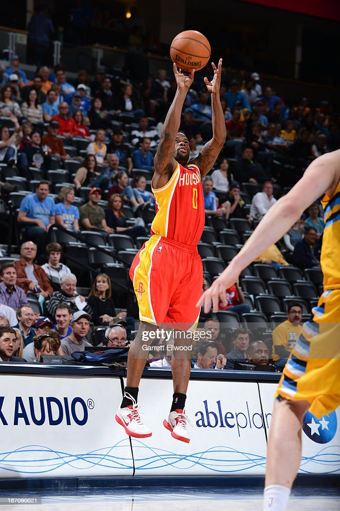 Aaron Brooks #0 of the Houston Rockets shoots the ball against the Denver Nuggets on April 6, 2013 at the Pepsi Center in Denver, Colorado.