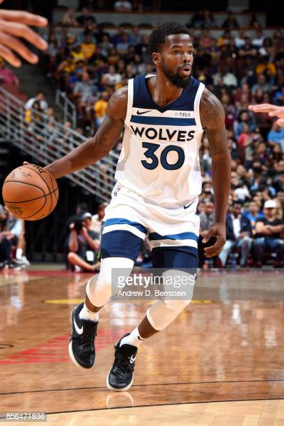Aaron Brooks of the Minnesota Timberwolves handles the ball during the game against the Los Angeles Lakers during the preseason game on September 30...