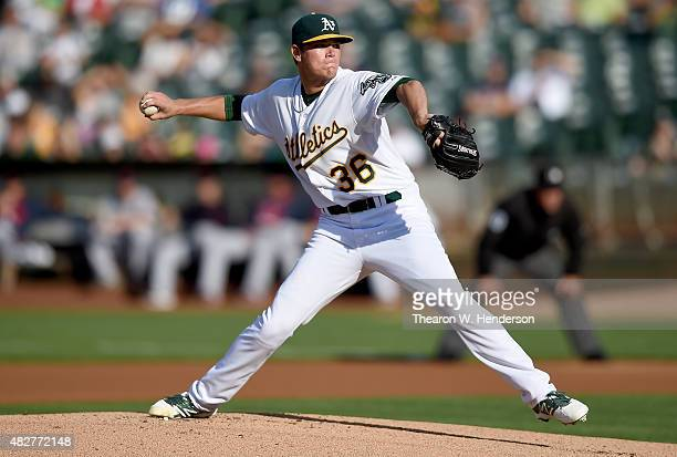 Aaron Brooks of the Oakland Athletics pitches against the Cleveland Indians in the top of the first inning at Oco Coliseum on August 1 2015 in...