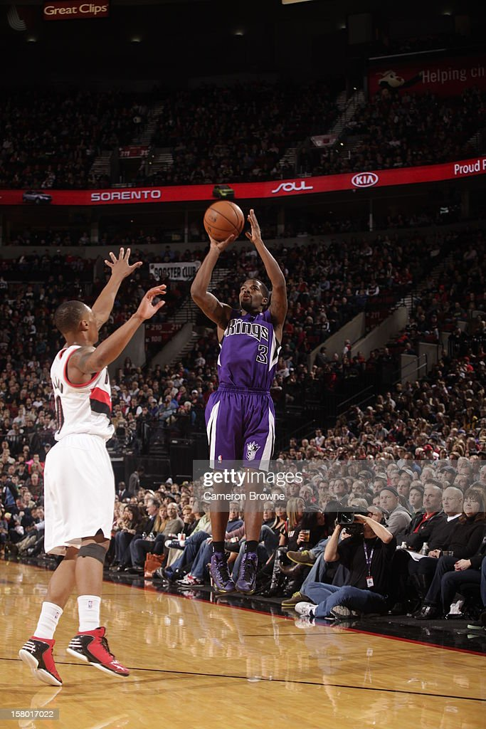Aaron Brooks #3 of the Sacramento Kings goes for a jump shot during the game between the Sacramento Kings and the Portland Trail Blazers on December 8, 2012 at the Rose Garden Arena in Portland, Oregon.