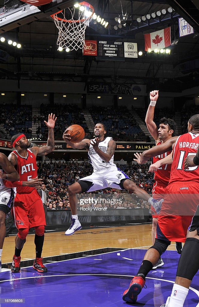 Aaron Brooks #3 of the Sacramento Kings goes up for the shot against the Atlanta Hawks on November 16, 2012 at Sleep Train Arena in Sacramento, California.