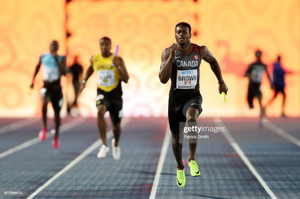 Aaron Brown of Canada competes in the Men's 4x200 Metres Relay Final during the IAAF/BTC World Relays Bahamas 2017 at Thomas Robinson Stadium on April 23, 2017 in Nassau, Bahamas.