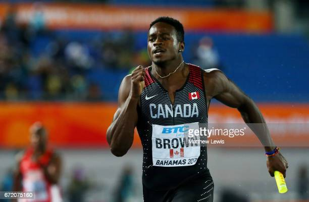 Aaron Brown of Canada competes in the Men's 4x200 Metres Relay Final during the IAAF/BTC World Relays Bahamas 2017 at Thomas Robinson Stadium on...