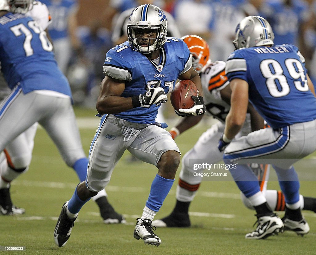 Aaron Brown #21 of the Detroit Lions looks for running room during the fourth quarter while playing the Cleveland Browns in a preseason game on August 28, 2010 at Ford Field in Detroit, Michigan.