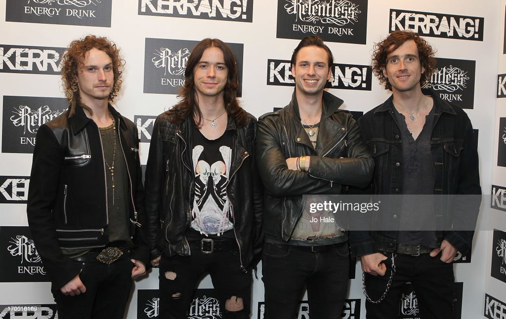 Aaron Buchanan (second to right) and band Heaven's Basement attend The Kerrang! Awards at the Troxy on June 13, 2013 in London, England.