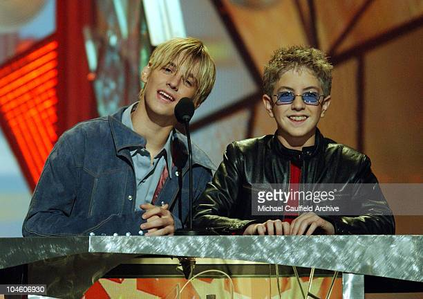 Aaron Carter and Billy Gilman introduce an act at the 2001 Billboard Awards at the MGM Grand Hotel in Las Vegas