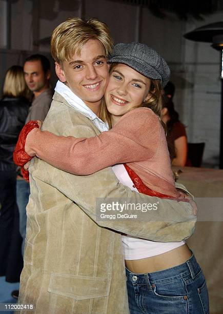 Aaron Carter and Caitlin Wachs during 'South Park's' 5th Anniversary Party at Quixote Studios in Hollywood California United States