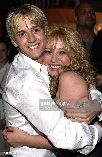 Aaron Carter and Hilary Duff during The Lizzie McGuire MoviePremiere After Party at The El Capitan Theater in Hollywood CA United States