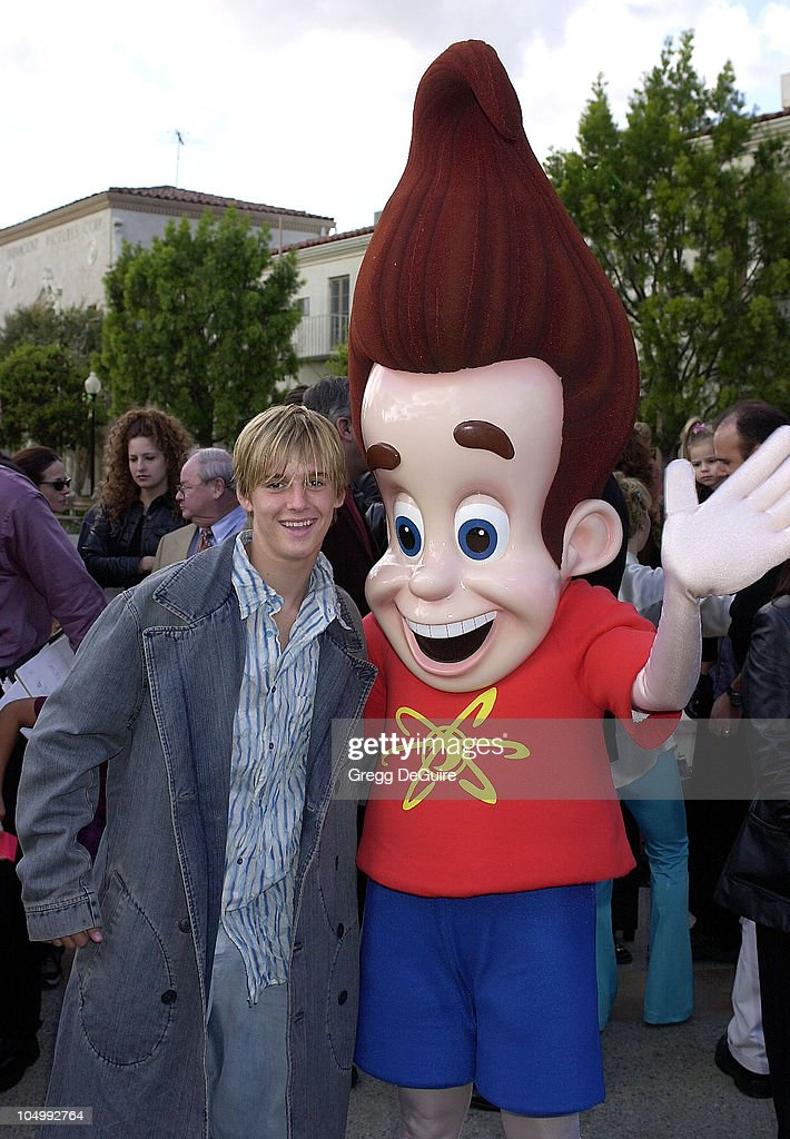 Aaron Carter and Jimmy Neutron during 'Jimmy Neutron: Boy Genius' Los Angeles Premiere at Paramount Studios in Los Angeles, California, United States.
