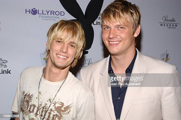 Aaron Carter and Nick Carter during Celebrity Locker Room Presents An All Star Night at The Mansion at The Playboy Mansion in Los Angeles California...
