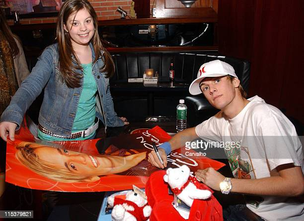 Aaron Carter during Aaron Carter Backstage Meet And Greet With Fans at BB Kings in New York City New York United States