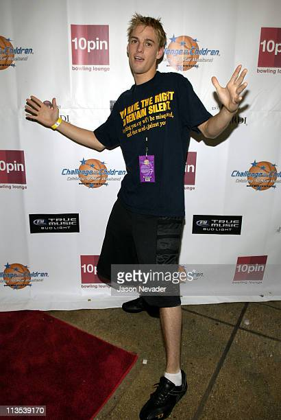 Aaron Carter during *NSYNC's Challenge for the Children VII Celebrity Bowling Arrivals at 10pin in Chicago Illinois United States