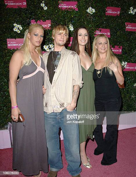 Aaron Carter with guests during TMobile Sidekick 3 Launch Arrivals at 6215 Sunset Blvd in Hollywood California United States