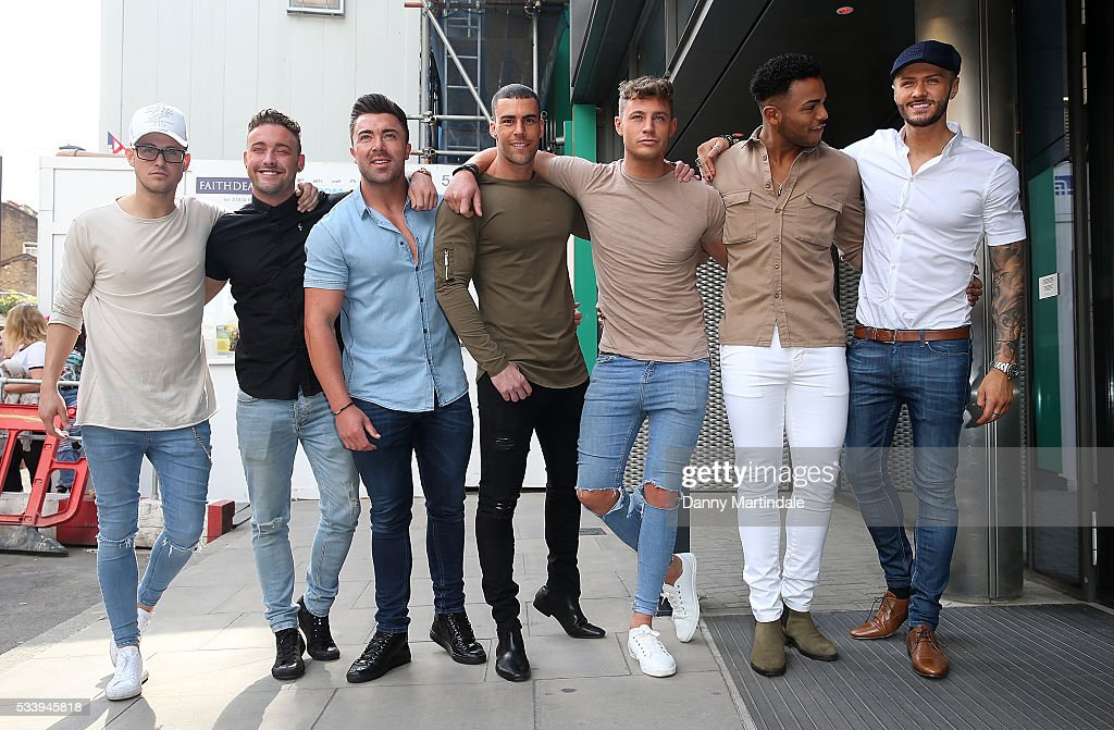 Aaron Chalmers, Nathan Henry, Scott Timlin, Marty McKenna, James Tindale and Dan Thomas-Tuck of Geordie Shore arrive to celebrate their fifth birthday at MTV London on May 24, 2016 in London, England.