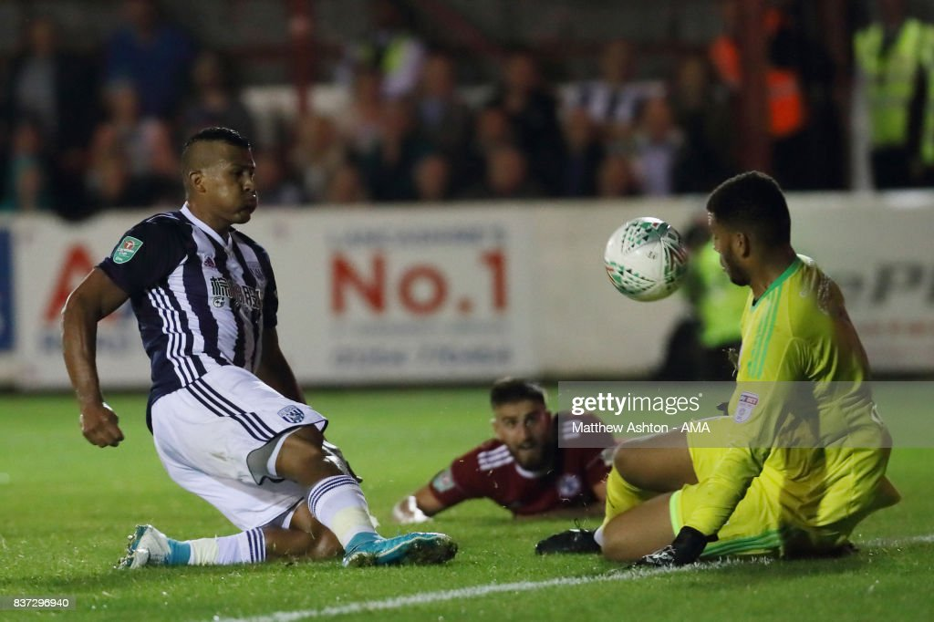 Aaron Chapman of Accrington Stanley saves from Salomon Rondon of West Bromwich Albion during the Carabao Cup Second Round match between Accrington Stanley and West Bromwich Albion at Wham Stadium on August 22, 2017 in Accrington, England.