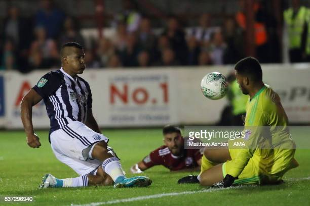 Aaron Chapman of Accrington Stanley saves from Salomon Rondon of West Bromwich Albion during the Carabao Cup Second Round match between Accrington...
