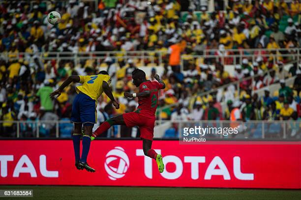 Aaron Christopher Billy Ondele Appindangoye and Abel Issa Camara fighting for the ball during the first half at African Cup of Nations 2017 between...