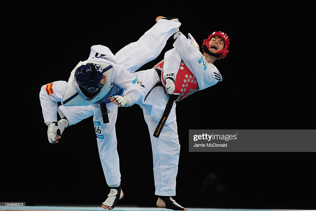 Aaron Cook of Great Britain in action against Nicolas Garcia of Spain during the Taekwondo semi final at the London Prepares LOCOG Test Event for...