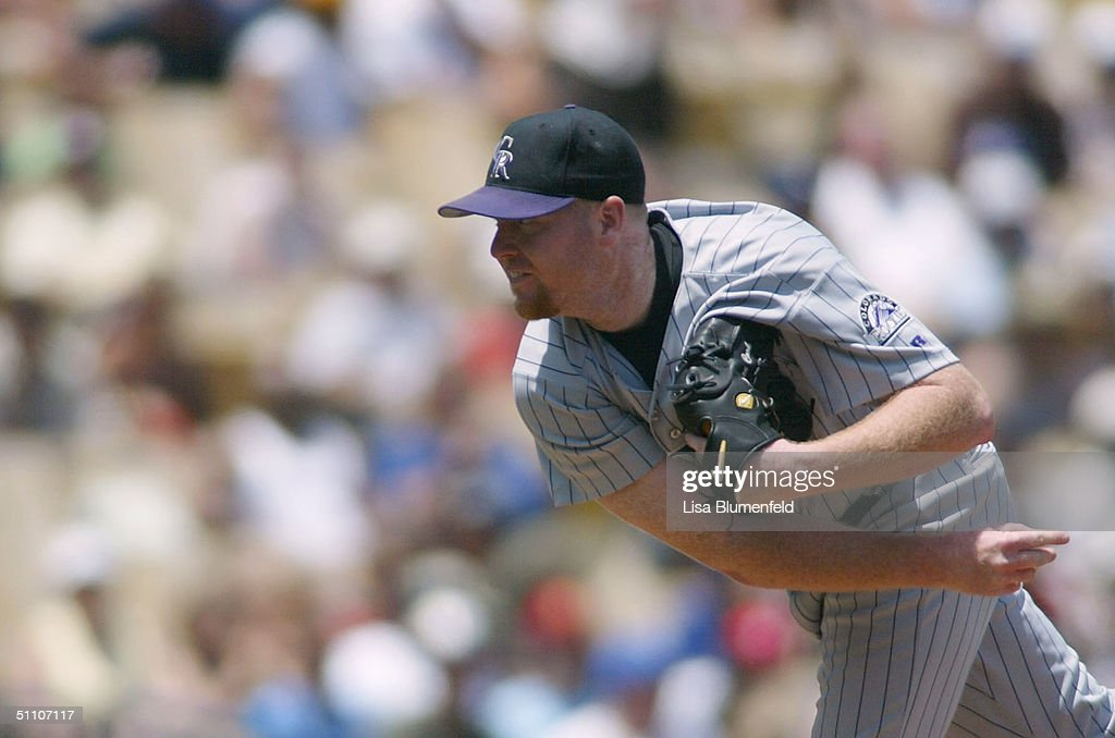 Aaron Cook of the Colorado Rockies pitches against the Los Angeles Dodgers in the 5th inning on July 22 2004 at Dodger Stadium in Los Angeles...