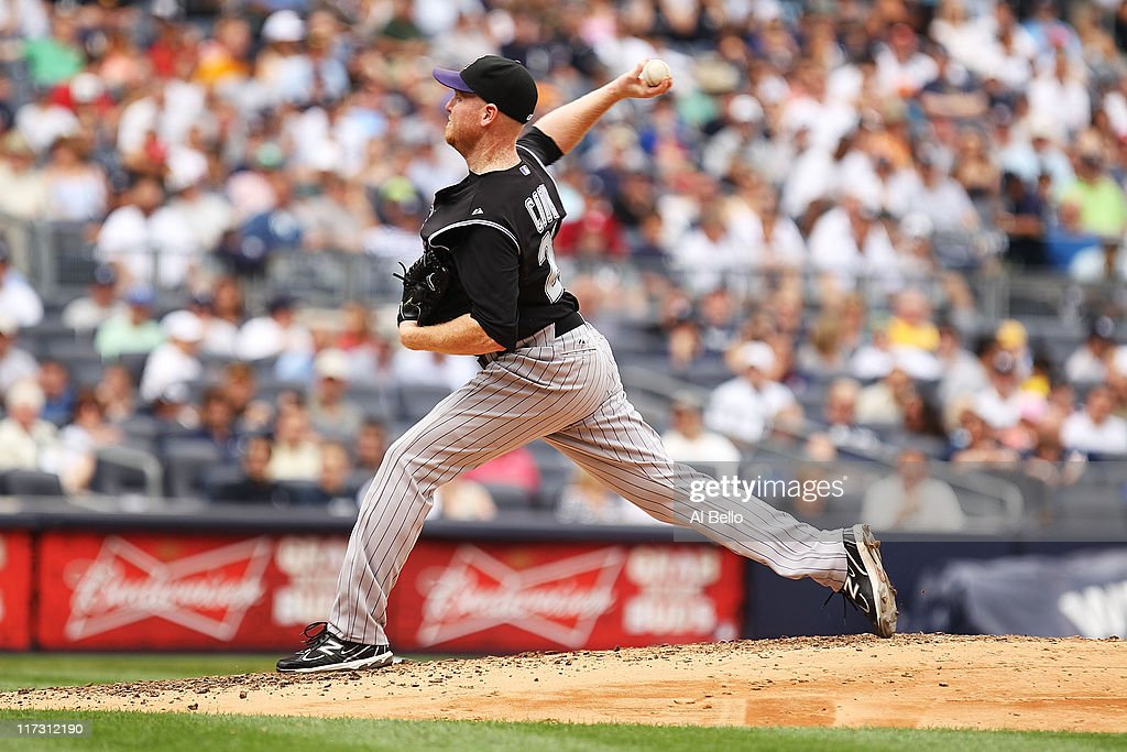 Aaron Cook of the Colorado Rockies pitches against the New York Yankees during their game on June 25 2011 at Yankee Stadium in the Bronx borough of...