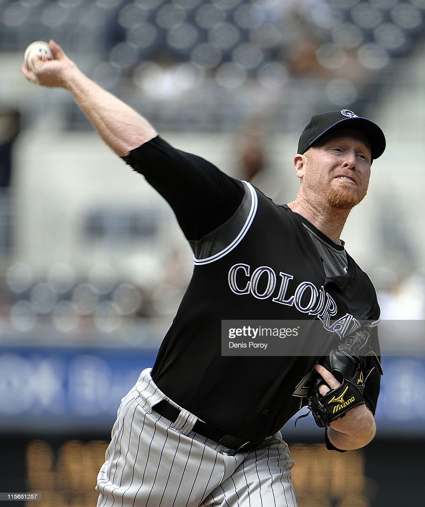 Aaron Cook of the Colorado Rockies pitches during the first inning of a baseball game against the San Diego Padres at Petco Park on June 8 2011 in...