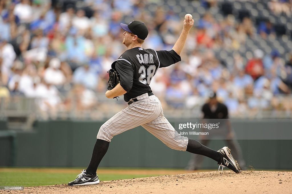 Aaron Cook of the Colorado Rockies pitches during the game against the Kansas City Royals at Kauffman Stadium in Kansas City Missouri on Sunday May...