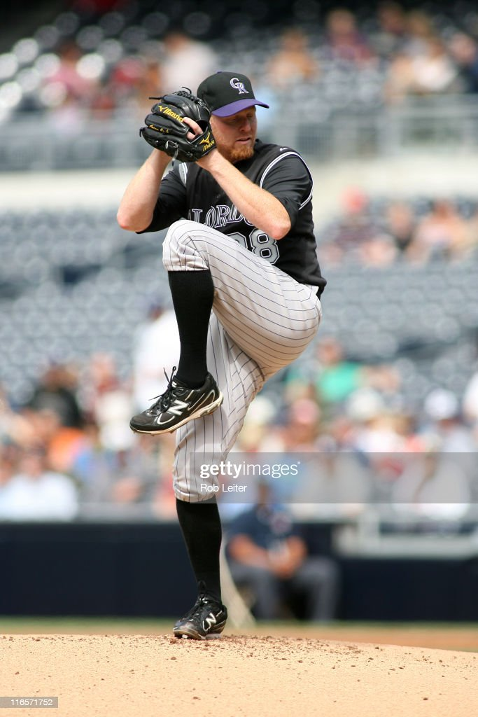 Aaron Cook of the Colorado Rockies pitches during the game against the San Diego Padres at Petco Park on June 8 2011 in San Diego California The...