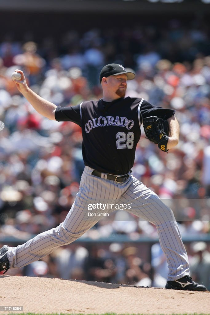 Aaron Cook of the Colorado Rockies pitches during the game against the San Francisco Giants at ATT Park in San Francisco California on August 6 2006...