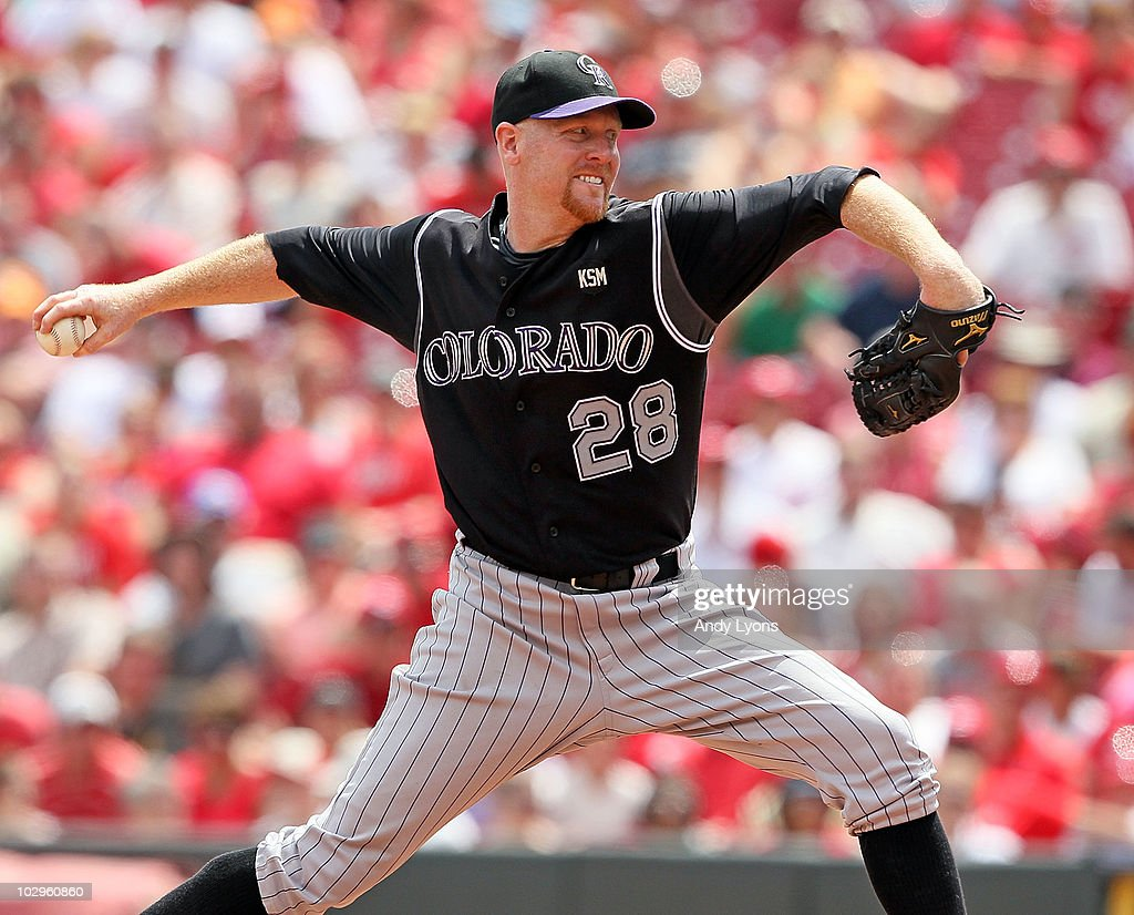 Aaron Cook of the Colorado Rockies throws a pitch during the game against the Cincinnati Reds at Great American Ball Park on July 18 2010 in...
