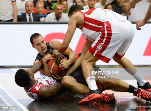 Aaron Craft of Dolomiti Energia Trentino battles for the ball with Awudi Abas of EA7 Emporio Armani Milano during LegaBasket Serie A Playoffs match 3...