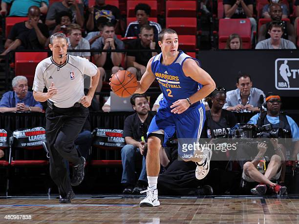 Aaron Craft of the Golden State Warriors handles the ball against the New York Knicks on July 16 2015 at the Thomas Mack Center in Las Vegas Nevada...