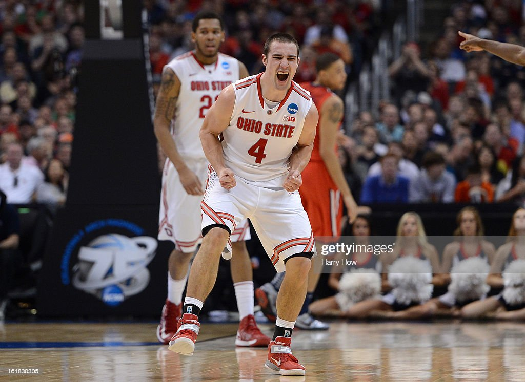 Aaron Craft #4 of the Ohio State Buckeyes celebrates in the second half while taking on the Arizona Wildcats during the West Regional of the 2013 NCAA Men's Basketball Tournament at Staples Center on March 28, 2013 in Los Angeles, California.