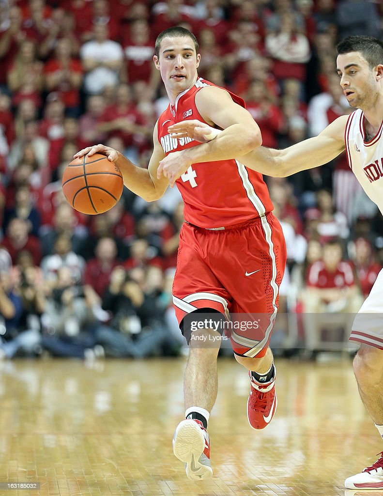 Aaron Craft #4 of the Ohio State Buckeyes dribbles the ball during the game against the Indiana Hoosiers at Assembly Hall on March 5, 2013 in Bloomington, Indiana. Ohio State won 67-58.