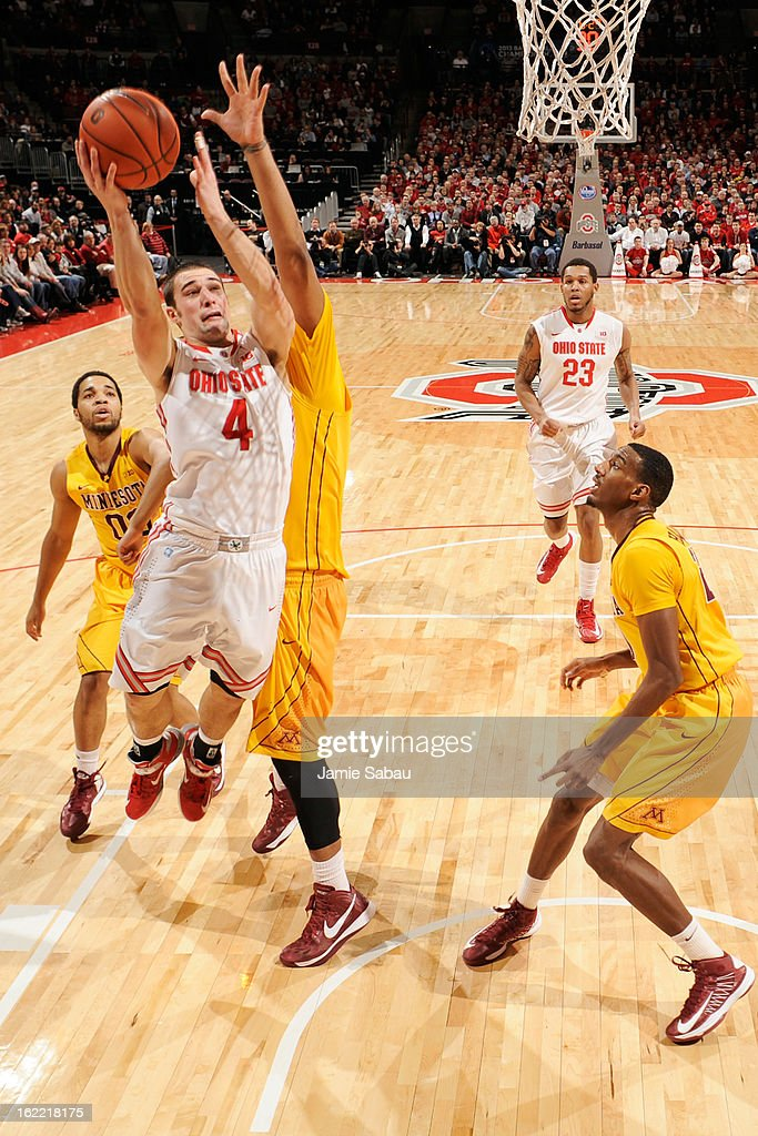 <a gi-track='captionPersonalityLinkClicked' href=/galleries/search?phrase=Aaron+Craft&family=editorial&specificpeople=7348782 ng-click='$event.stopPropagation()'>Aaron Craft</a> #4 of the Ohio State Buckeyes drives to the basket in the first half against the Minnesota Golden Gophers on February 20, 2013 at Value City Arena in Columbus, Ohio. Ohio State defeated Minnesota 71-45.