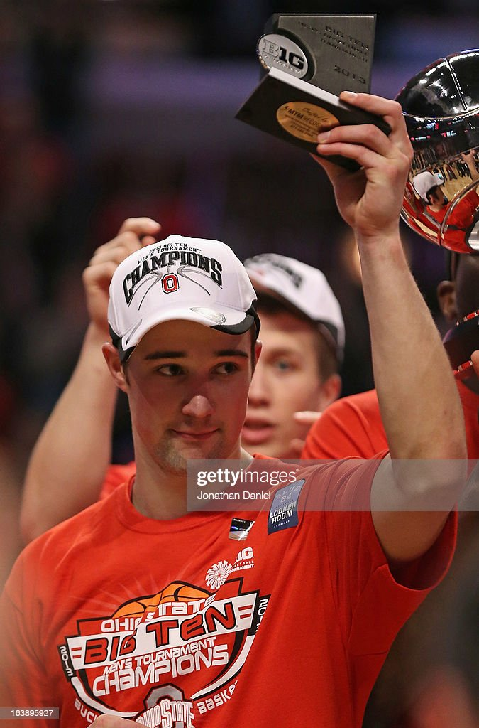 Aaron Craft #4 of the Ohio State Buckeyes holds his MVP trophy after the Buckeyes defeated the Wisconsin Badgers during the Big Ten Basketball Tournament Championship game at United Center on March 17, 2013 in Chicago, Illinois. Ohio State defeats Wisconsin 50-43.