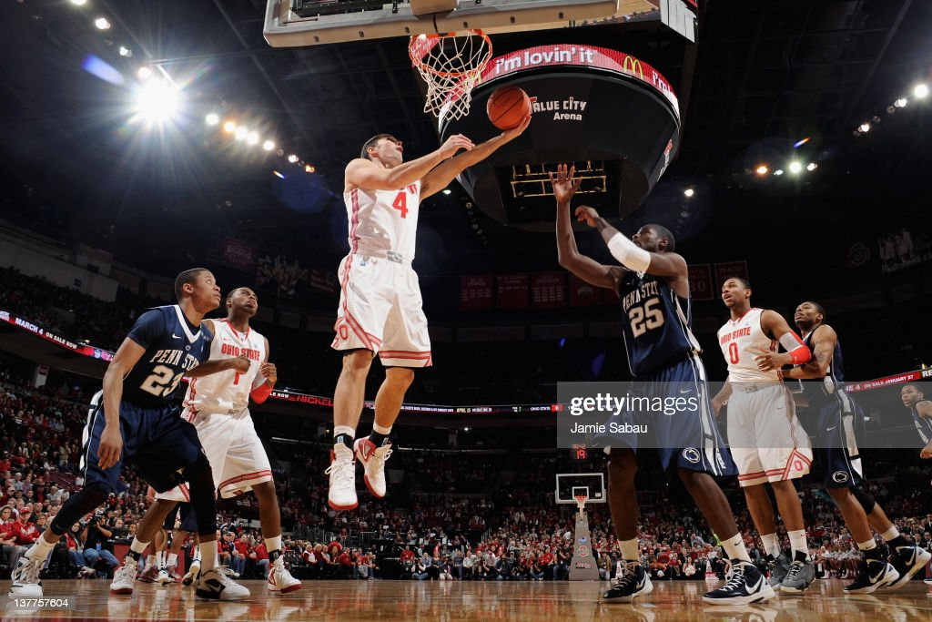 Aaron Craft of the Ohio State Buckeyes lays in a shot in the first half against the Penn State Nittany Lions on January 25 2012 at Value City Arena...
